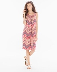 Neckline Detail Short Swing Dress Faded Chevron