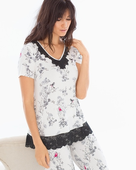 Lace Trim Short Sleeve Pajama Top Fragile Floral Ivory