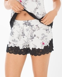 Cool Nights Lace Trim Pajama Shorts Fragile Foral Ivory