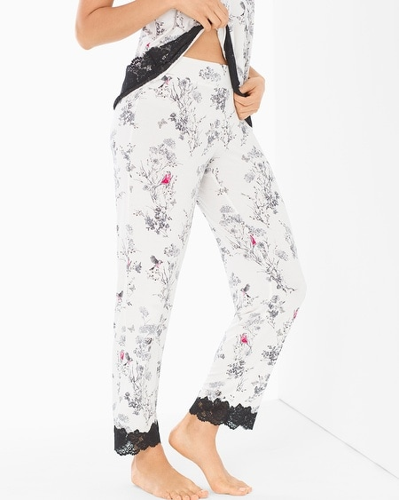 Lace Trim Ankle Pajama Pants Fragile Floral Ivory
