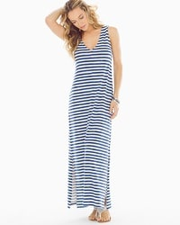 Premium Cotton Blend Maxi Dress Amazing Stripe Navy