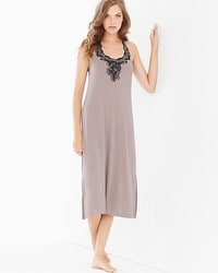 Coastal Floral Lace Tea Length Nightgown Smokey Taupe/Black