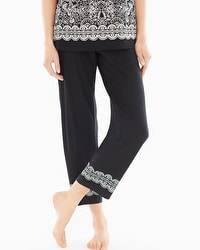 Embraceable Cool Nights Ankle Pajama Pants Delft Black Border