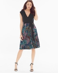 Colorblock Short Dress Token Scroll Dotted Scroll/Black