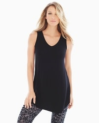 Live. Lounge. Wear. Soft Jersey Asymmetrical Sleeveless Tunic Black