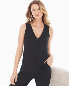 Live. Lounge. Wear. Soft Jersey Sleeveless Wrap Top Black