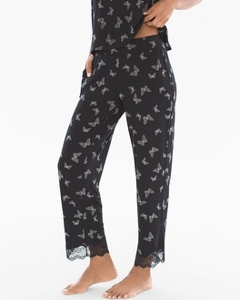 Cool Nights Lace Trim Ankle Pajama Pants Fancy Free Border Black