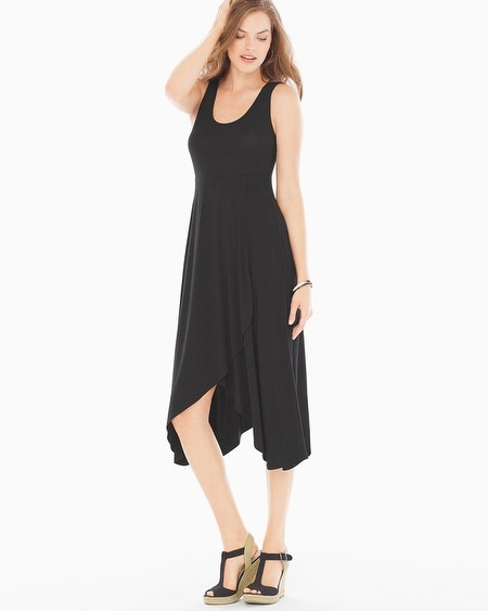 Faux Wrap Midi Dress Black