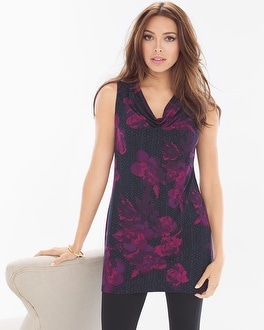Live. Lounge. Wear. Sleeveless Cowlneck Tunic Moonlight Blackberry