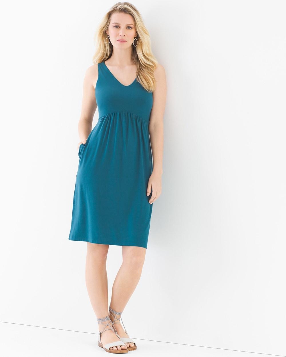 feb39cd24eb38 Shirred Sleeveless Short Dress Dark Harbour