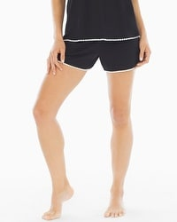 Embraceable Cool Nights Crochet Pajama Shorts Black/Ivory
