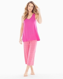 Cool Nights Crop Pants Pajama Set Tinted Tile Mini Rose
