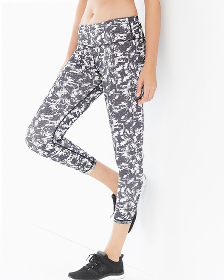 Reversible Printed Crop Leggings White Combo