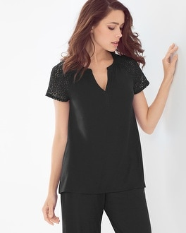 Embraceable Cool Nights Popover Pajama Top Black