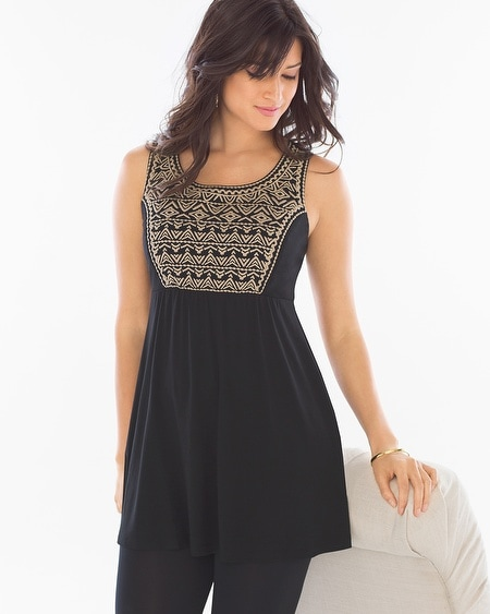 Soft Jersey Embroidered Tunic Black