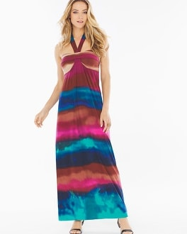 Faye Halter Maxi Dress Ombre Stripe