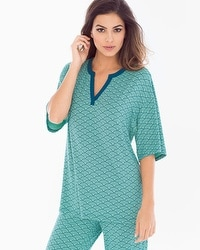 Cool Nights Pop Over Pajama Top Dynamic Dot Wasabi