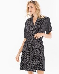 Cool Nights Short Robe Mod Dot Black