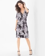 Kimono Wrap Short Dress Vintage Bouquet Black