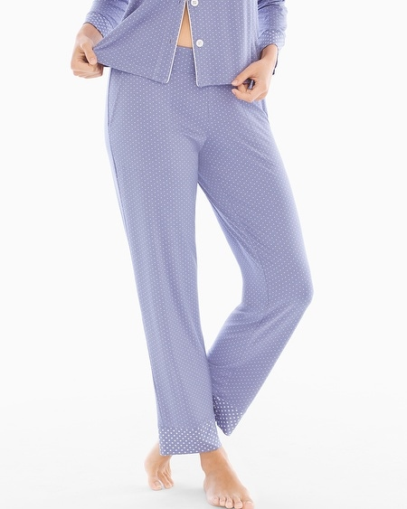 Ankle Pajama Pants Little Dot Blue Chill