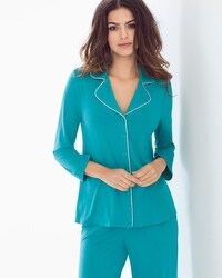 Cool Nights Notch Collar 3/4 Sleeve Pajama Top Pagoda Blue