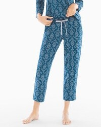 Embraceable Ankle Pajama Pants Chic Scroll Poseidon