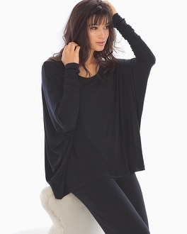 Samantha Chang Home Long Sleeve Crew Top Black