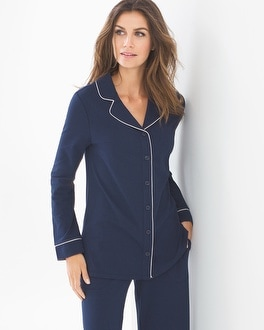 Embraceable Long Sleeve Notch Collar Pajama Top Navy