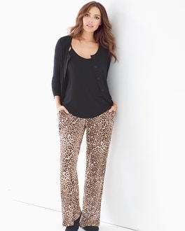 Cool Nights 3-Piece Cardi Pajama Set Jaguar Mini Neutral Black