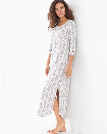 Long Sleepshirt Chic Scroll Ivory