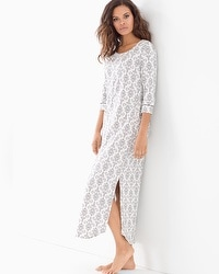 Embraceable Long Sleepshirt Chic Scroll Ivory
