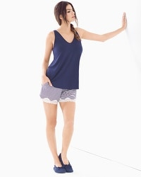 Cool Nights Tank/Shorts Pajama Set Stocking Stripe Navy