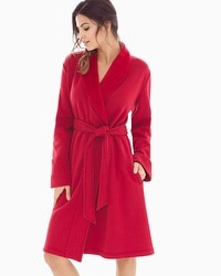 French Terry Short Robe Ruby