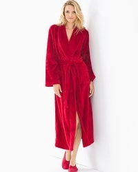 Embraceable Long Plush Robe Ruby