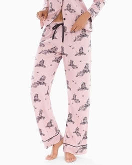 Cozy Woven Cotton Blend Pajama Pants Fly Vintage Pink