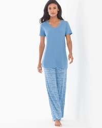 Cool Nights Short Sleeve/Pants Pajama Set Poetic Prose Riviera