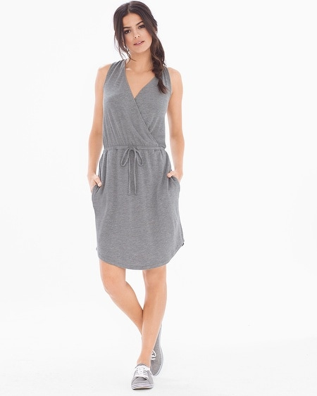 French Terry Sleeveless Short Dress Heather Graphite