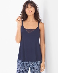 Cool Nights Pajama Cami With Lace Navy