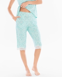 Cool Nights Narrow Crop Pajama Pants Springtime Scroll Icy Aqua