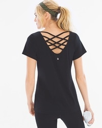 Soma Sport Strappy Cotton Blend Yoga Tee Black