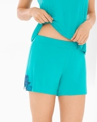 Riviera Scroll Pajama Shorts Viridian Green