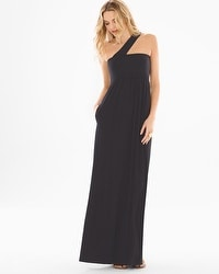 Soft Jersey One Shoulder Halter Maxi Dress Black