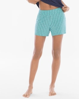 Cool Nights Contrast Piped Pajama Shorts Heritage St Teal Treasure