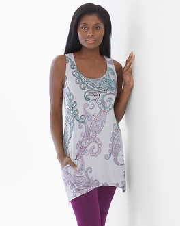 Soft Jersey Strappy Racerback Sleeveless Tunic Poetic Paisley Cool Gray