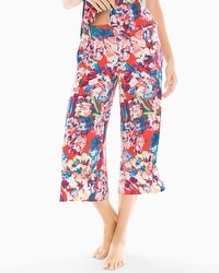 Cool Nights Full Pajama Crop Pants Artistic Floral Grenadine