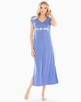 Cool Nights Long Pajama Sleepshirt On Vacay Baja Foil