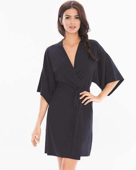 Chiffon Short Sleeve Robe Black