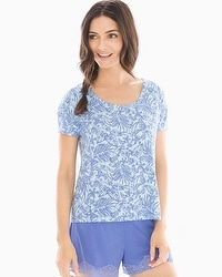 Cool Nights Boxy Pajama Tee Tranquil Palm Baja Blue