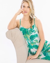 Cool Nights Racerback Pajama Cami Lush Leaves Deep Lake
