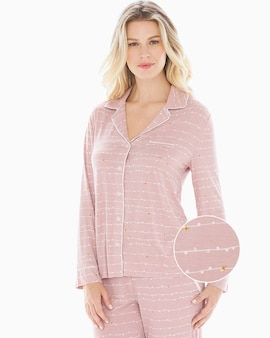 83c6a260437f3 Cool Nights Long Sleeve Notch Collar Pajama Top Garland Stripe Pink